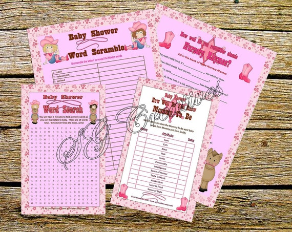 SALE! Cowgirl Baby Shower Games Printable PDF Instand Download