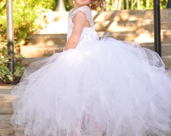 White Special Occasion Tutu Dress---Bustle Style Princess Tutu and Satin Corset Top Outfit----Flower Girl Dress-Pageants-Weddings-Portraits