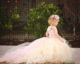 Lace and Tulle Flower Girl Dress -Formal Wear Tutu and Detachable Train--Pink Champagne--Perfect for Weddings, Pageants and Portraits