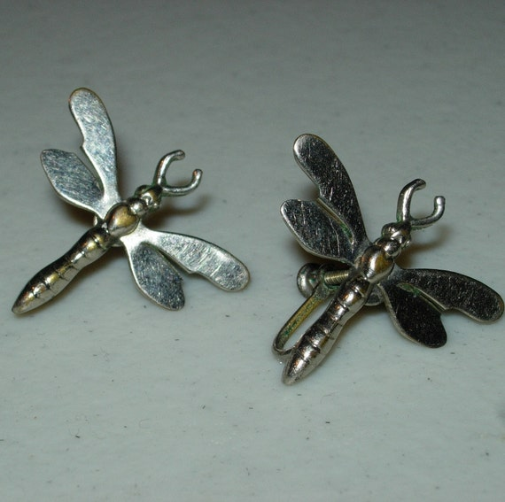 Silver Plated Dragonfly Screwback Earrings