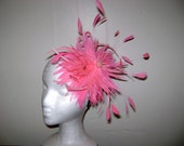Great Gatsby - Bright Pink Feather Fascinator Headband Hat - Custom Color