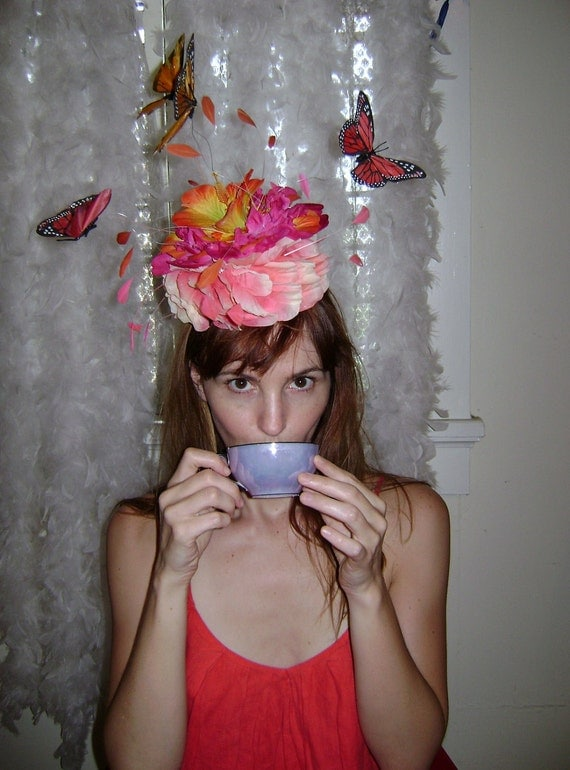 Beatrice's Garden Party - Small Pillbox Butterfly Hat