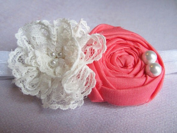 Lace flower with coral rosette headband, photo prop
