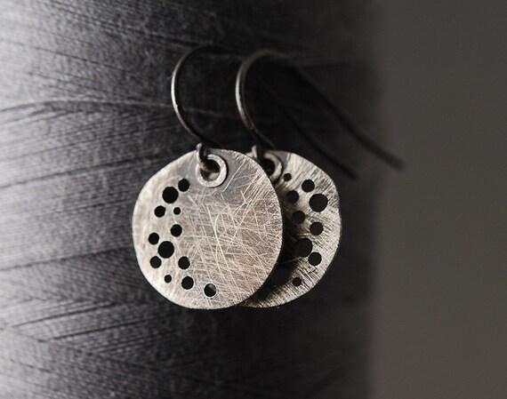 New Moon Sterling Silver Disc Earrings