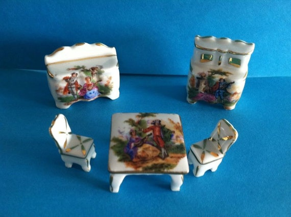 reserved sally Reduced Limoges France Dollhouse 5 pc Courting Couple Dining Room Furniture miniature