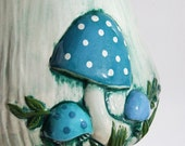 Vintage Arnels Mushroom Ceramic Cookie Jar Canister, Aqua Turquoise Blue, Retro