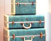 Vintage 1950s Bermuda Green Samsonite suitcases - train case - overnighter - turquoise, teal, cream,