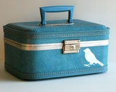 Vintage Upcycled  Cornflower BLUE Trojan TRAIN CASE - hand painted - Carry on - Weekend bag - Makeup Case - Organizer - Luggage