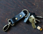 Black Leather Keychain - Double