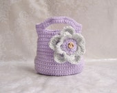 Crochet Girls Purse, Toddler Purse, Crochet Purse with Flower, Flower Purse, Purse with Handle, Small Purse