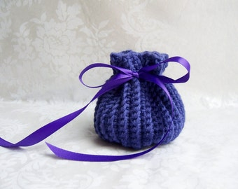 Coin Purse, Jewelry Bag, Ecofriendly Bag, Purple Coin Purse, Crochet Sack, Coin Purse with Drawstring, Jewelry Pouch