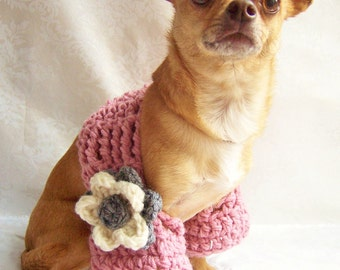 Crochet Shrug, Crochet Dog Sweater, Crochet for Dogs, Shrug with Flower