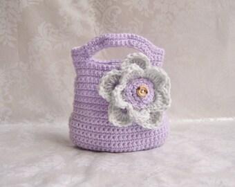 Crochet Girls Purse, Toddler Purse, Crochet Purse with Flower, Flower Purse, Purse with Handle, Small Purse