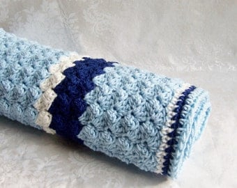 Crochet Baby Blanket, Crochet Blanket for Boys, Blue Crochet Blanket, Baby Blanket