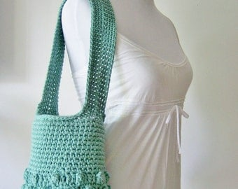 Crochet Purse, Crochet Sack, Lined Purse, Purse with Shoulder Strap, Natural Purse, Cotton Purse, Green Purse