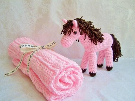 Crochet Baby Blanket with Pony, Crochet Blanket, Crochet Pony, Pink Blanket, Baby Shower Set