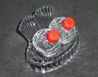 Vintage Glass Bird Salt and Pepper Shakers with Tray