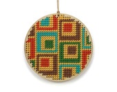 """retro squares needlepoint kit - modern / contemporary - 3"""" - lime, turquoise, orange, yellow and brown"""