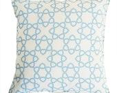 many hearts linen pillow cover light blue