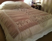 French  Antique Tambour Lace Ruched bed cover