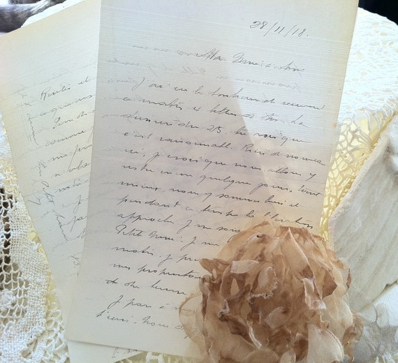 Handwritten French Script Love Letters Vintage White Ivory