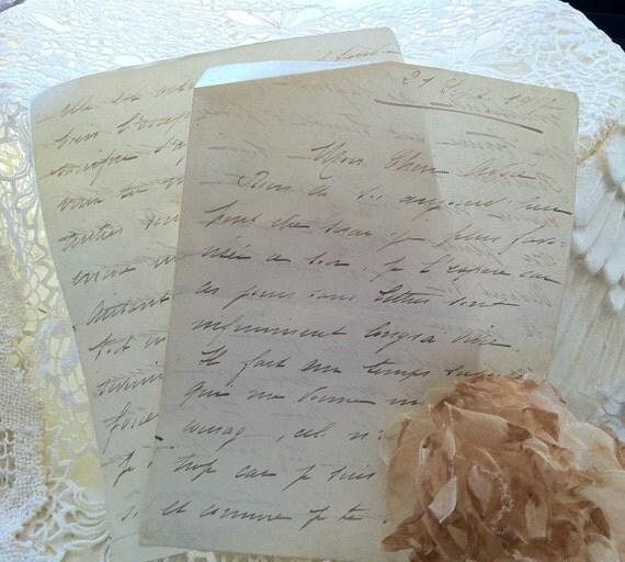 French Love Letters Handwritten Script Vintage Soft Green 1917