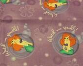 Cotton Fabric, 1/2 yard, Disney The Little Mermaid, Ariel, Watch Me Sparkle, Pillow, Wallhanging, Dress