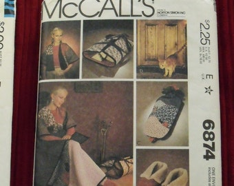 Vintage Sewing Pattern, McCall's 6874, Energy Saver, Quilted Jacket, Slippers, Quilt, Draft Stopper, Log Carrier, Water Bottle Cover, Gift