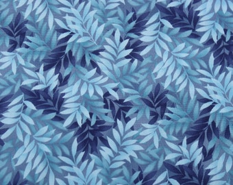 Cotton Fabric, 1/4 Yard, Quilt, Quilting, Fern Print, Shades of Blue, Kona Bay, Rainbow Garden Tropical, Pillow, Wallhanging, Christmas Gift