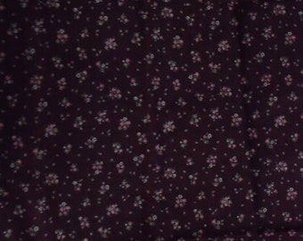 Vintage Calico Cotton Fabric, 1/4 Yard, 1980s, Peach Floral on Chocolate Brown,Quilt, Quilting, Home Decor, Gift for Him or Her, Yardage
