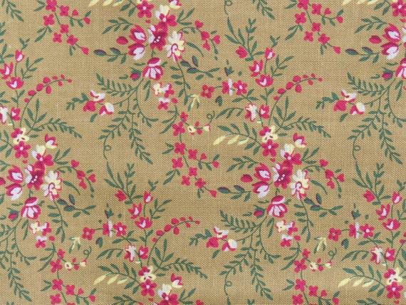 Cotton Fabric, Pink and White Floral Print on Tan Background, Almost 1 yard, Quilt, Pillow, Wallhanging, Decorative Items