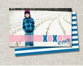 Modern XOXO Hugs N Kisses Valentines Day Custom Double-sided Photo Card (Printable Digital File or Printed)