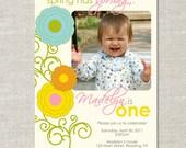 Spring Flower Custom Double-sided Photo Birthday Invitation (Printable Digital File or Printed)