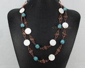 SALE Wanda Necklace - Amazonite Stone, Mother of Pearl and Copper Swirl Links - j0901b