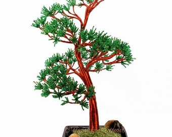 Scots Pine Beaded Bonsai Tree, Glass and Wire Tree Sculpture -  t0512