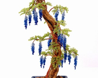 Mystic Blue Wisteria Beaded Bonsai - Glass and Wire Tree Sculputre -  t0213