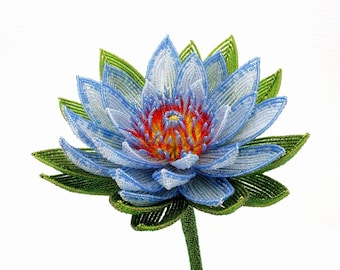 Sacred Blue Lotus Beaded Flower - French Beaded Glass & Wire Flower -  f0513d