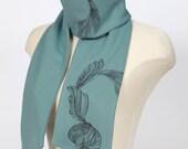 SALE 60% OFF: The Blue Organic Cotton Scarf - silkscreen - handmade women scarf