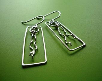 Sterling Silver Window Ray Earrings
