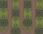 Psychedelic Eye Screen Printed Necktie on Sage Green