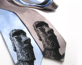 Easter Island SILK Necktie - Gift for Dad - Screen Printed Tie - Easter Island Head Tie - Dads Gift - Unique Tie