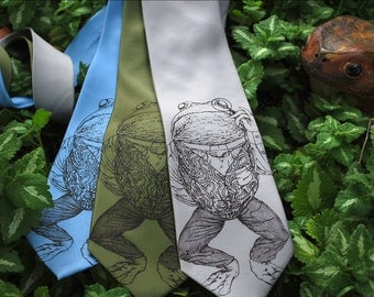 Pretentious Frog SILK Necktie - Screen Printed SILK Tie - Frog Necktie - Frog Art