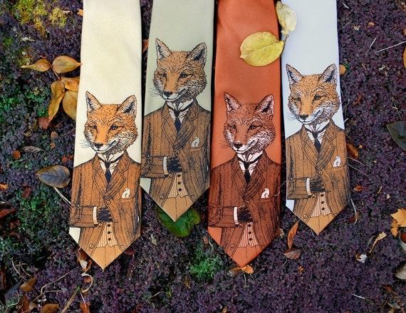 Men's Necktie - Dapper Fox Men's Tie - Men's Fox Necktie