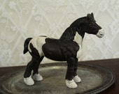 Reserved for Randy - Cast iron horse bank - black and white draft animal -- great shabby chic chippy look for decor  -- HALF OFF SALE