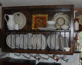 Custom kitchen cabinet -- open shelves and plate rack -- country farmhouse style  -- rustic knotty pine wood