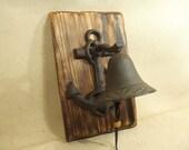 Rustic Anchor Cast Iron Bell  -- lodge cabin decor -- reclaimed western cedar
