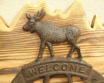 Rustic Cast Iron Moose Welcome coat rack  -- lodge cabin decor -- rich patina on cast iron hooks and western cedar