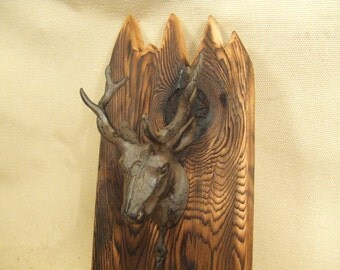Rustic deer coat rack -- lodge cabin decor -- reclaimed western cedar