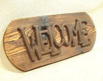 Rustic Cast Iron  Welcome Sign  -- lodge cabin decor -- reclaimed western cedar