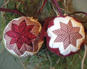 PDF File- Quilted Christmas No-Sew Ornament, Complete Pattern Download-Balls- PDF File